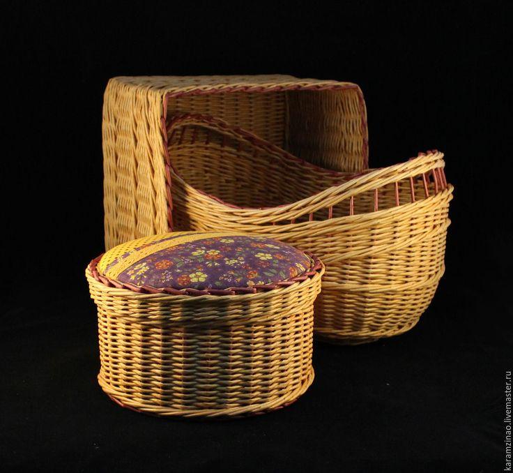 Купить Корзина (короб) овальная - оранжевый, короб для хранения, короб, плетение, плетение из бумаги