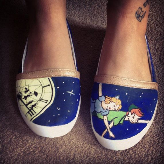 Disney Peter Pan Customised Shoes  adults and by WhatSarahDoes, £45.00