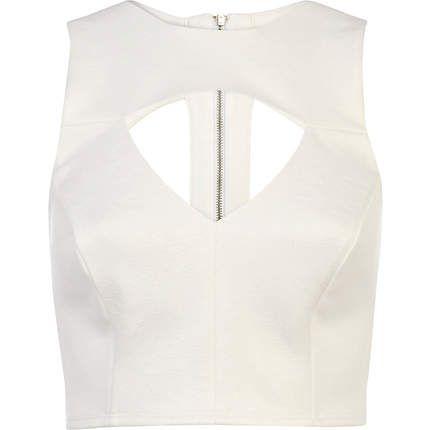White jacquard cut out crop top - crop tops / bralets / bandeau tops - tops - women