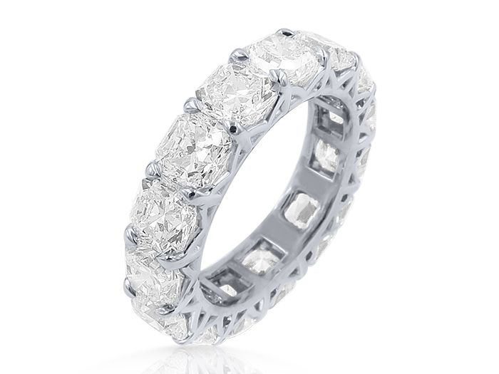 J.B. Star Platinum Diamond Eternity Band, Featuring 15 Radiant Diamonds =7.70cts Total Weight, G Color, VS Clarity
