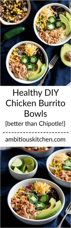 Better than Chipotle DIY Chicken Burrito Bowls that are awesome for clean eating and healthy meal prep. Cheap & easy to make. Chicken can be made in the slow cooker too!