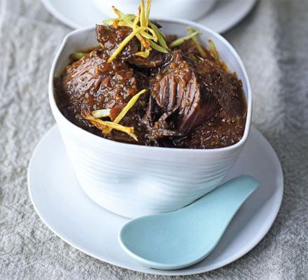 Slow cooking beef shin or brisket in Asian aromatic spices gives a melt-in-the-mouth main course that's delicious with steamed rice and crisp stir-fried vegetables