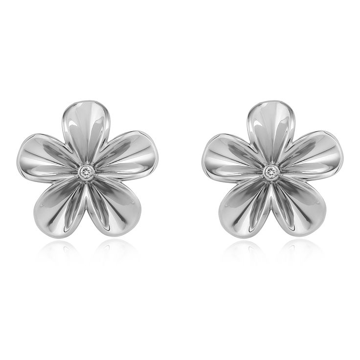 Fiorella Earrings. Glossy 925 sterling silver with white rhodium plating.  2 brilliant diamond - 0.03 carat (full cut).