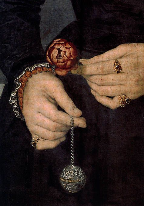 Pomander ball - detail of an unknown painting. The duke of Norfolk uses one to…