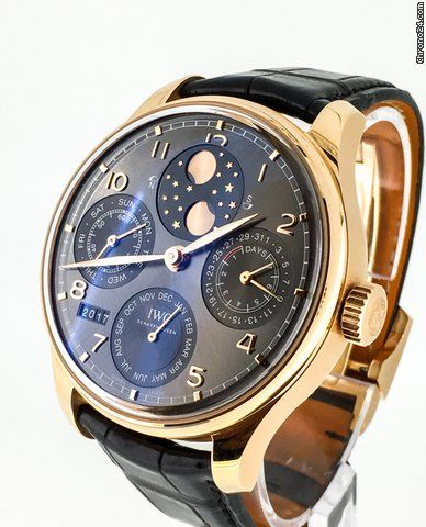 IWC Portuguese Perpetual Calendar ad: £19,950 IWC Portuguese Perpetual Calendar IW503404 Ref. No. IW503404; Pink gold; Automatic; Condition 1 (mint); Year 2016; With box; With papers;
