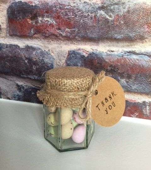 Mini eggs chocolate jars burlap wedding favour by RomanceandRust