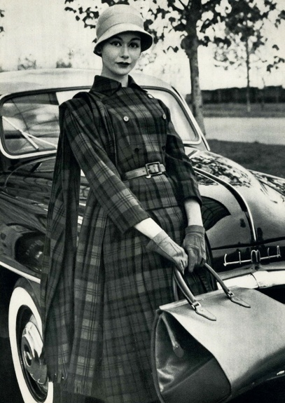 Wonderful plaid outfit for an article in Jardin des Modes Magazine, January 1956.