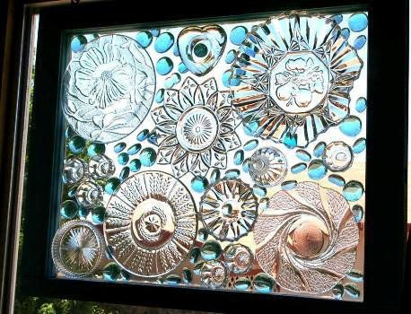 Make a creative window with old crystal, glassware lids and plates Becky Norris, a long time member of Flea Market Gardening, is a great one for conjuring up i