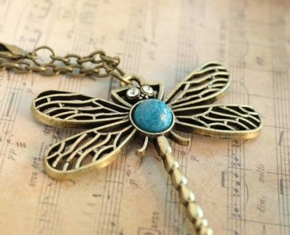 Dragonfly Necklace – Antiqued Pendant Jewellery