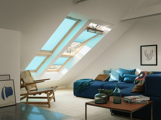 Feeling blue? Not in this living room! Find the colour that matches your mood: http://www.velux.com/products/product_range/blinds/roman_blinds_landing_page/
