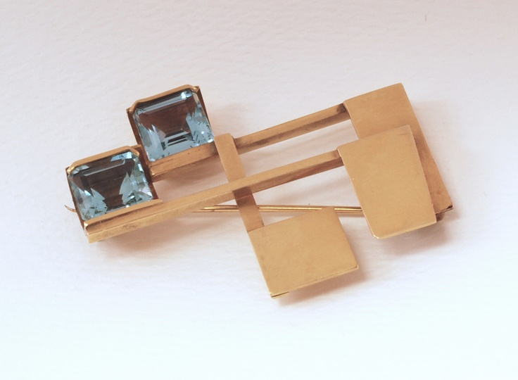 c. early 1960s Peter Macchiarini Gold Constructivist Pin with cut glass: Baby Blue, Cut Baby, Emerald Cut, Constructivist Brooch, Cut Glass