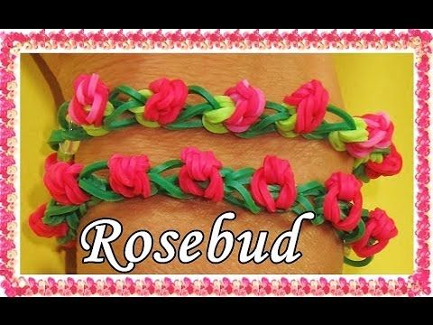 Rainbow Loom ROSEBUD Bracelet. Designed and loomed by DIYMommy. Click photo for YouTube tutorial. 05/02/14.