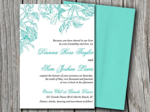 DIY Wedding Invitation Microsoft Word Template | Botanical Vintage Turquoise Blue Teal Green | Floral DIY Wedding Invitation | Shabby Chic by PaintTheDayDesigns, $10.00