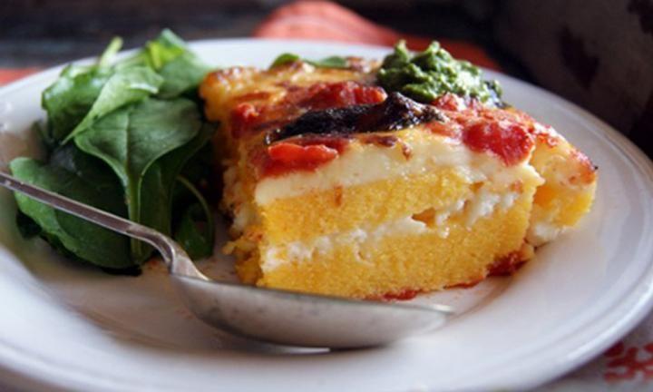 Polenta lasagne with pesto