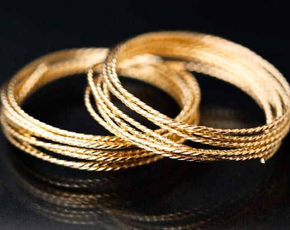2671_ Gold wire 18 gauge, Twisted wire 1 mm, Half hard wire, Jewelry wire, Round wire for jewelry, Brass craft wire, Gold plated wire_1 m.