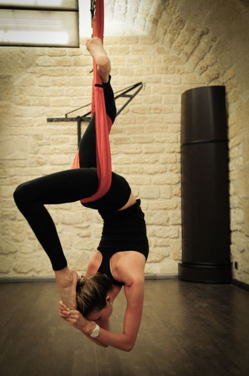 Aerial yoga. Looks really cool to not be bind that much by law of gravity