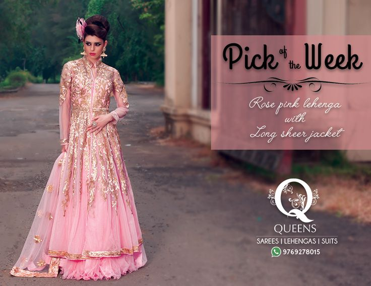 Rose Pink Lehenga with Long Sheer Jacket for a picture perfect look. Whatsapp us on +91 97692 78015 to know more or order. ‪#‎QueensEmporium‬ ‪#‎Mumbai #sarees #indian #bridalwear #gowns #ethnic
