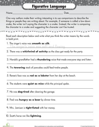Worksheets: Writing Workout: Figurative Language