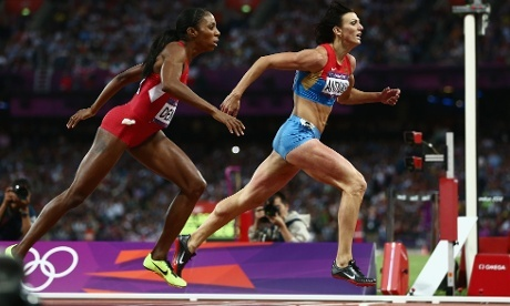 Russia's Natalya Antyukh just about had the legs to see off a last minute charge by the US's Lashinda Demus and take gold in the Women's 400m Hurdles by just 0.07 seconds. Russia's Natalya Antyukh just about has the legs to see off a last minute charge by the US's Lashinda Demus and take gold in the Women's 400m Hurdles by just 0.07 seconds.