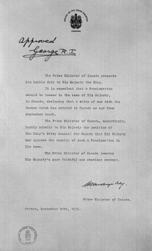 This is an image of Canada's Declaration of War on Germany in World War II, independent of the Allies. This source is credible as it is the document that was signed on September 10, 1939. This tells us about the changing lives of Canadians at the time because it showed that Canada and its people were independent and did not rely on Britain to make their decisions. Although Canada gained the reputation of being  independent in World War I, this showed that Canada continued to be a strong…
