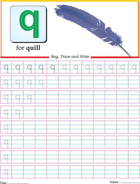 Letter Tracing: small letter Q | Homeschooling: Alphabet | Pinterest ...
