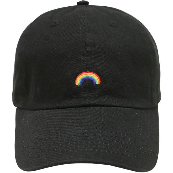 Capsule Design Rainbow Cotton Baseball Dad Cap Black ($13) ❤ liked on Polyvore featuring accessories, hats, cap hats, embroidered caps, baseball hat, cotton baseball cap and embroidery hats