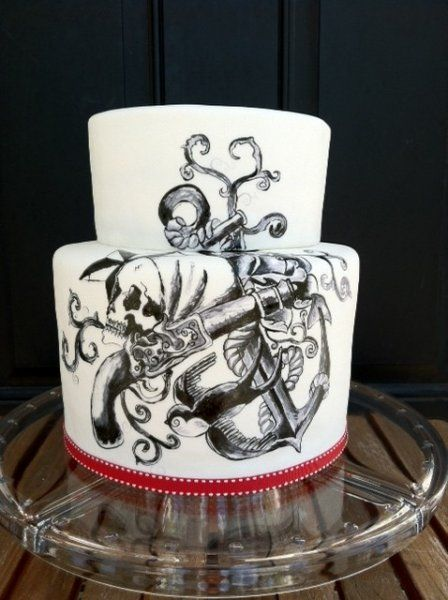 Tatoo pirate cake - All free hand painted by Sweet and Swanky Cakes