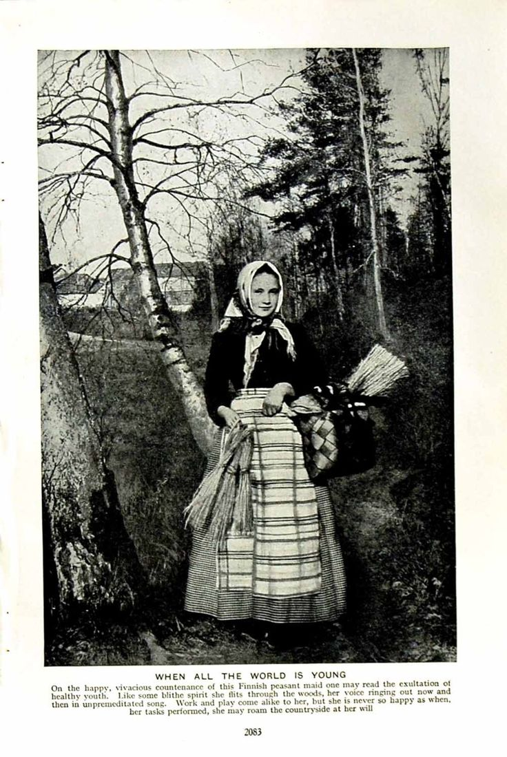 Finnish peasant maid with basket gathering in forest
