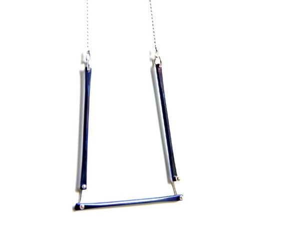 Titanium and Sterling Silver Geometric Necklace
