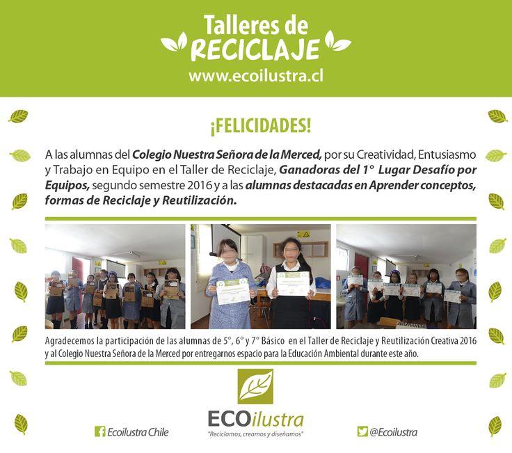 Foto: Agradecemos la participación de las alumnas de 5°, 6° y 7° Básico en el Taller de Reciclaje y Reutilización Creativa 2016 y al Colegio Nuestra Señora de la Merced #Melipilla, por entregarnos espacio para la Educación Ambiental durante este año.