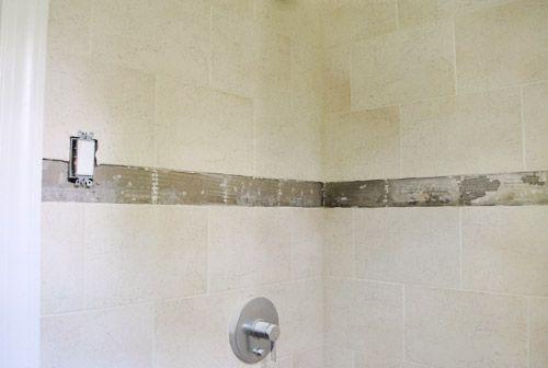 Replacing old shower border tiles border tiles bath and for Bathroom 4 x 7