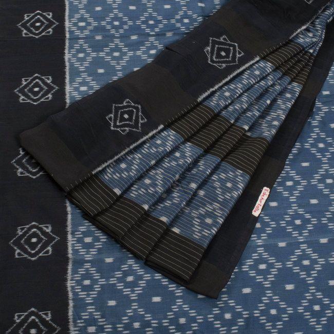 Kala Aur Katha Madison Blue Handwoven Chaura Ikat Silk Cotton Saree 10002590 - AVISHYA