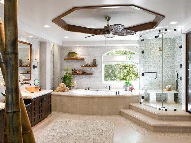 pebble tile border in flooring: Bathroom Design, Dreams Houses, Modern Bathroom, Big Bathroom, Masterbath, Dreams Bathroom, Bathroom Ideas, Master Bathroom, Ceilings Fans