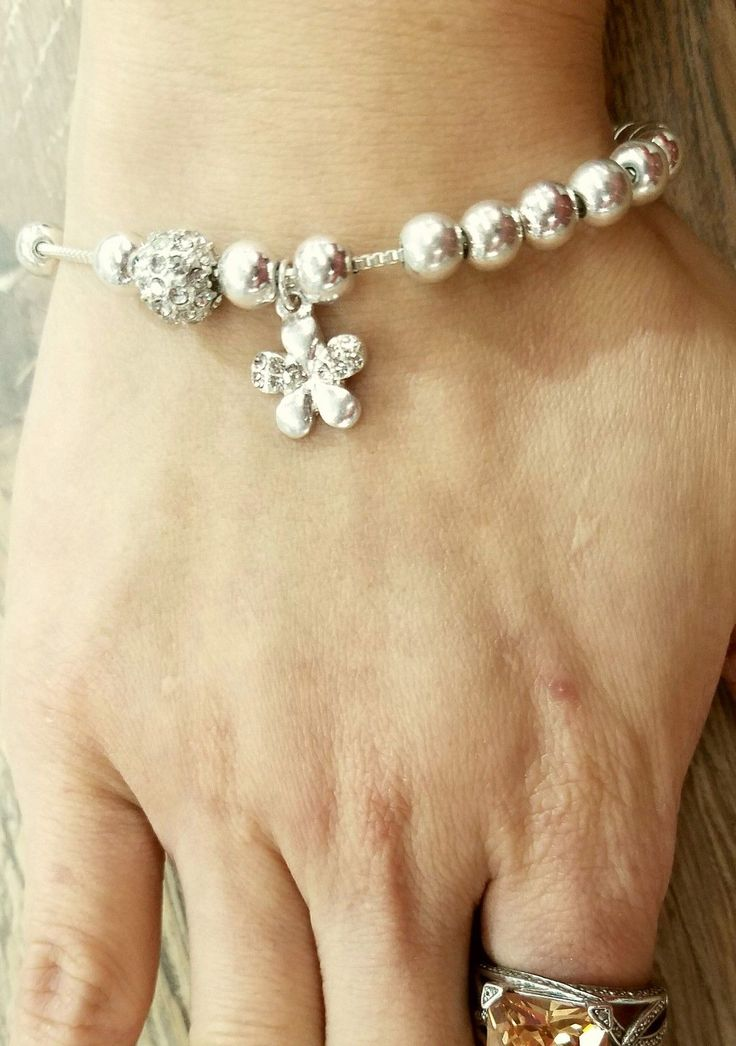 Gift Silver Color Chain Rhinestone Flower Charm Pull Slide Adjustable Bracelet. | eBay!