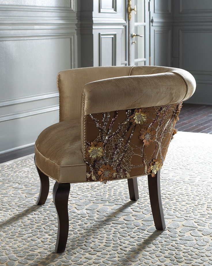 Portuguese Lace Chair - Haute House (Into The Wild Chair / ottoman Wood Fabric Modern Solid Upholstered Brown Tan Gold Embellishments Living room)