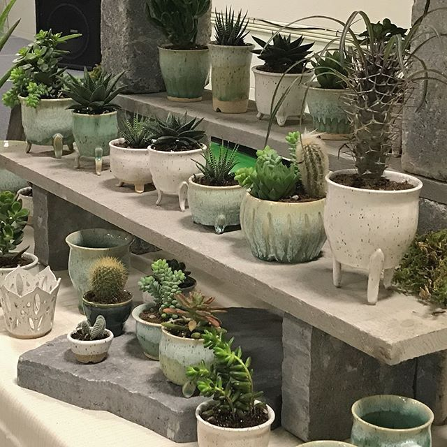 All set for the @londonclayartcentre Fall Show and Sale with a great selection of succulent planters, mugs and vases for your holiday shopping pleasure. Come check us out #ldnont (see link in profile for show location and hours)