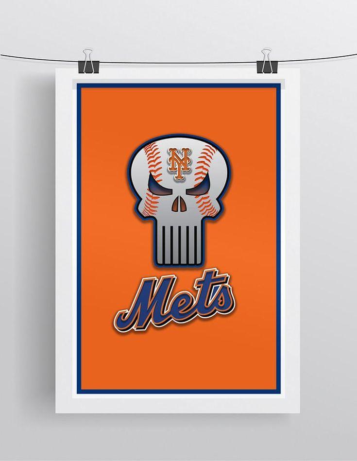New York Mets Punisher Logo Poster, New York Mets Punisher Logo Artwork Gift, Mets Layered Man Cave Art