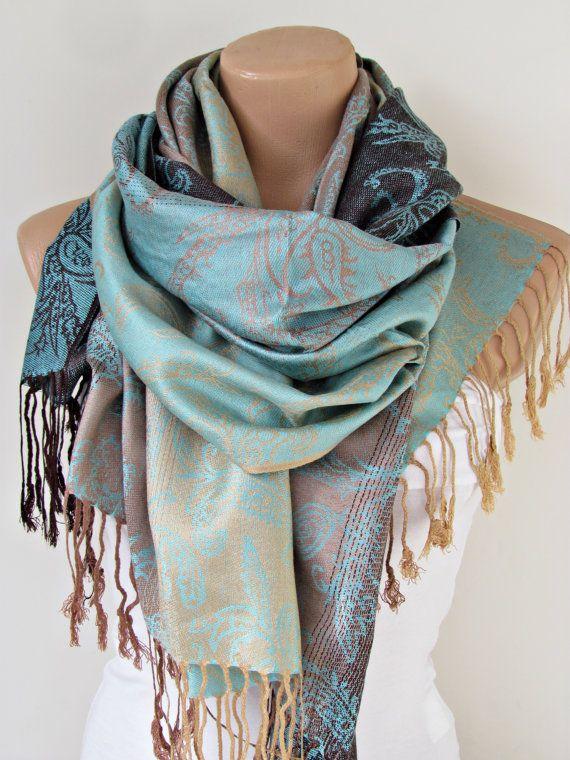 Aqua blau braun Pashmina Schal Oversize Schal von YADISHACCESSORIES