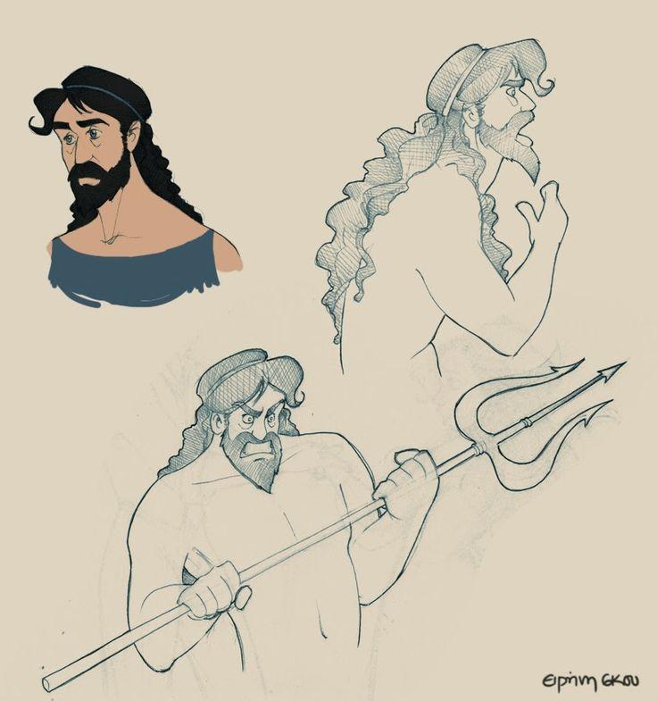 Poseidon doodles by Ninidu.deviantart.com on @deviantART