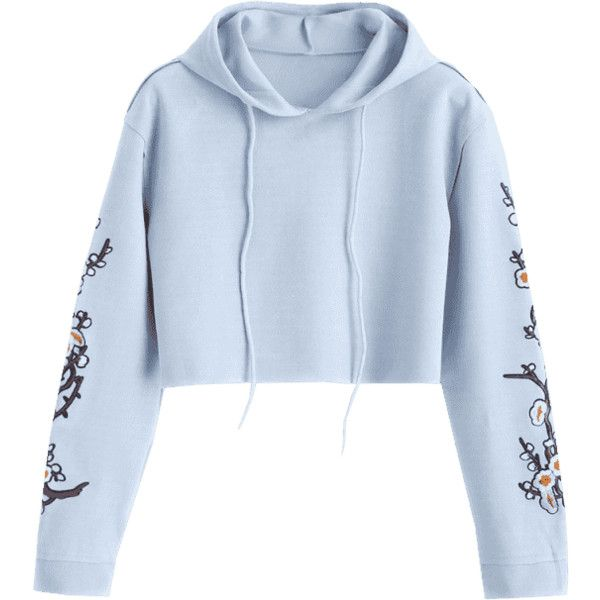 39c39e712dc Cropped Floral Applique Suede Hoodie ($21) ❤ liked on Polyvore featuring  tops, hoodies, blue hooded sweatshirt, blue hoodie, sweatshirt hoodies, crop  top ...