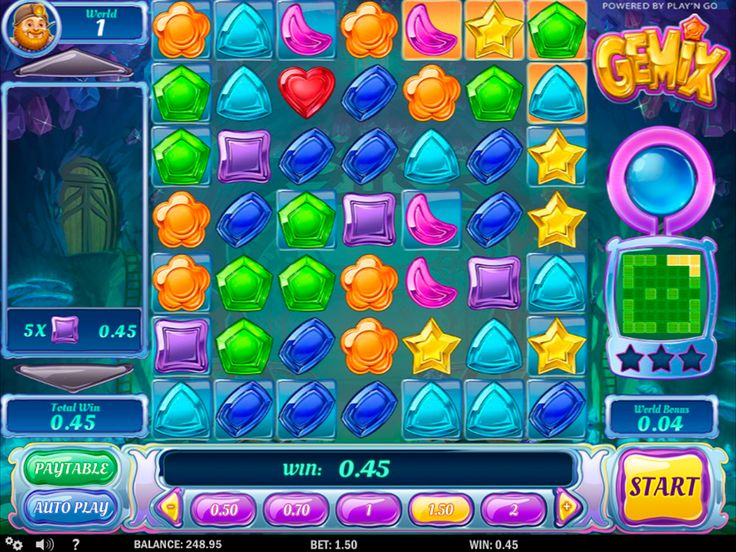 Enjoy a unique gambling time with the Gemix #slotmachine! The Gemix game is the highly entertaining 7-reel, 7-payline Play'n GO slot with unique features. Interesting features with different levels, Wild symbols, and other bonuses are present here. The unusual interface, colourful icons of this gems-based game and generous prizes of more than 600000 coins. What else do you need in a cool slot?