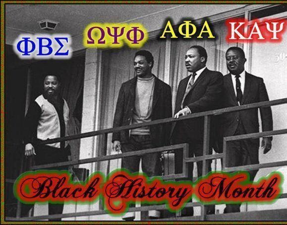 Greek Unity: Dr. Martin Luther King, Jr. (AΦA), Rev. Hosea Williams (ΦΒΣ), Rev. Jesse Jackson (ΩΨΦ), and Rev. Ralph David Abernathy (KAΨ) outside of their rooms on the balcony of the Lorraine Motel in Memphis, TN moments before Dr. King's assassination on April 4, 1968.