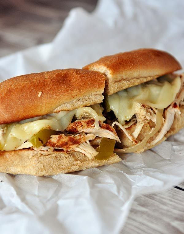 Slow-Cooker Chicken Philly Sandwiches. Delicious and more nutritious!