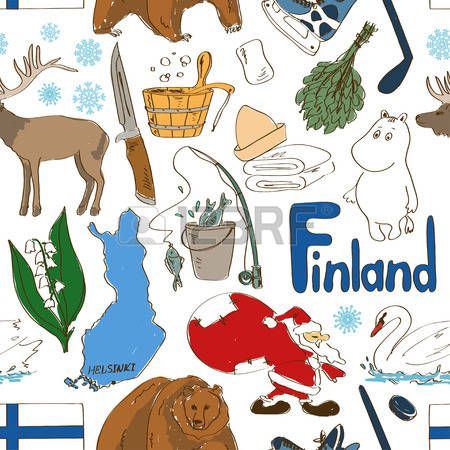 Fun colorful sketch Finland seamless pattern Vector