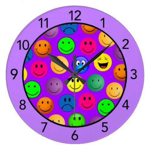 Purple Emoji Smiley Faces Funny Wall Clock