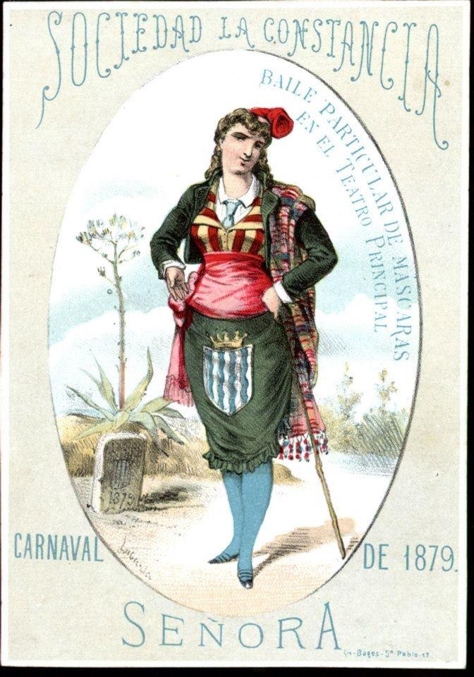 Invitació per senyora de la Sociedad La Constancia al Ball de Màscara. 1879.     Font: Arxiu Municipal de Barcelona.