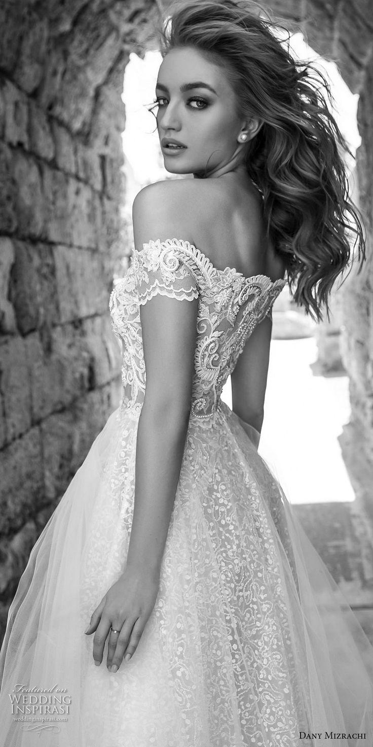 dany mizrachi 2018 bridal off shoulder sweetheart neckline full embellishment tulle skirt elegant romantic a  line wedding dress lace back short train (1) zbv -- Dany Mizrachi 2018 Wedding Dresses