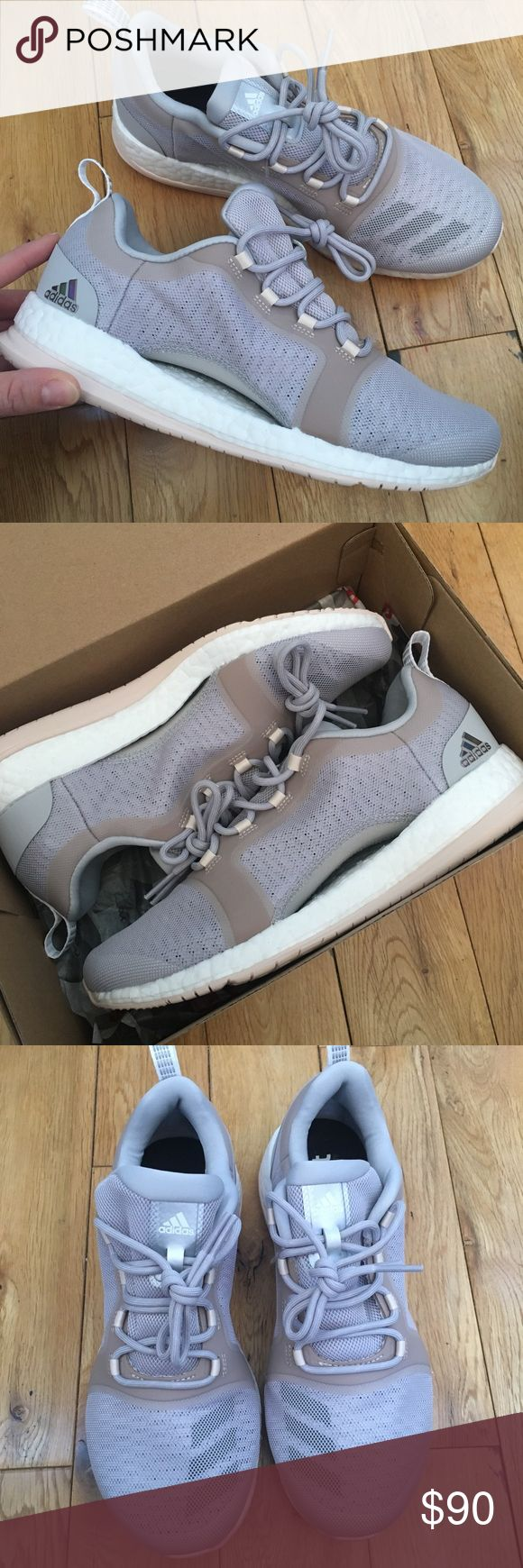 Adidas PURE BOOST X Trainer 2.0 Shoes Brand new, never worn adidas pure boost sneakers. Super comfortable, neutral colors— Grey/Running White. Size 6.5 Adidas Shoes Sneakers