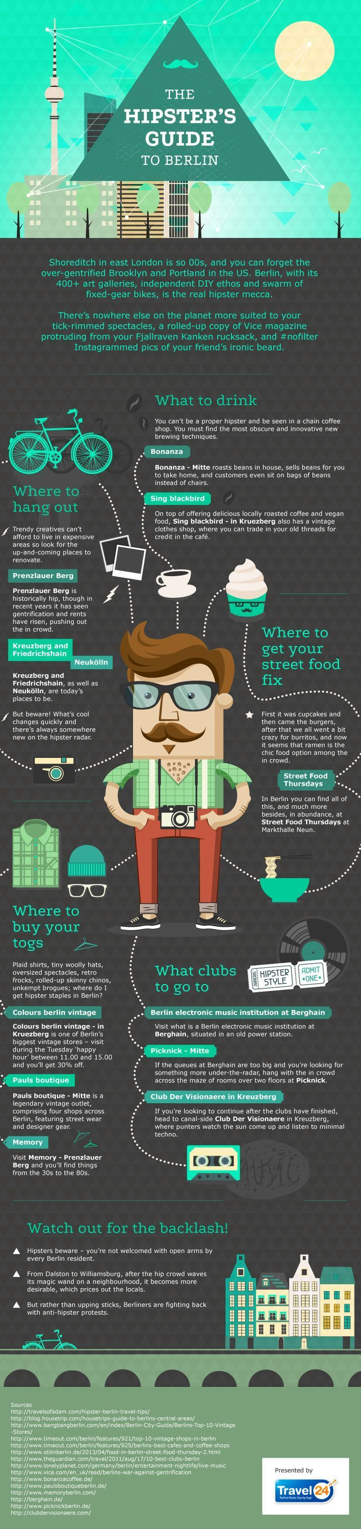 Travel infographic – The Hipster's Guide to Berlin #infographic