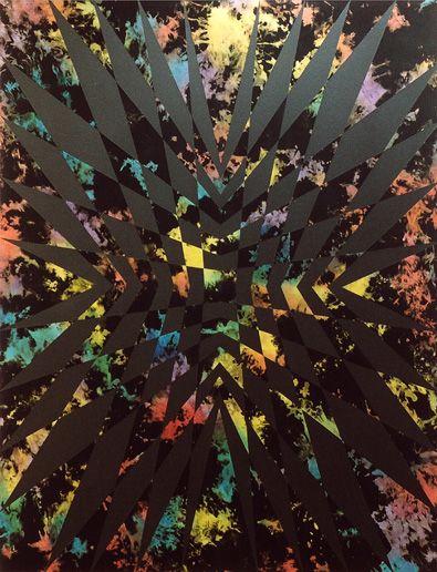 Anja Schwörer  Ohne Titel, 2004  Acryl auf gefärbter Baumwolle  190 x 145 cm